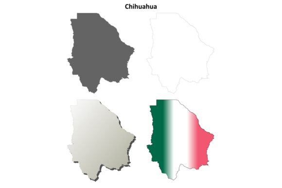Download Free Chihuahua Outline Map Set Graphic By Davidzydd Creative Fabrica for Cricut Explore, Silhouette and other cutting machines.