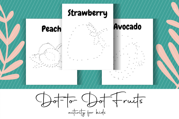 Print on Demand: Dot-to-Dot Fruits KDP Interior Graphic Coloring Pages & Books Kids By atlasart - Image 1