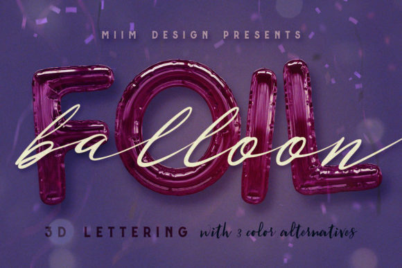Print on Demand: Foil Balloon - 3D Lettering Graphic Objects By JumboDesign
