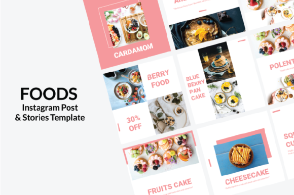 Print on Demand: Foods - Instagram Templates Graphic Websites By nirmala.graphics