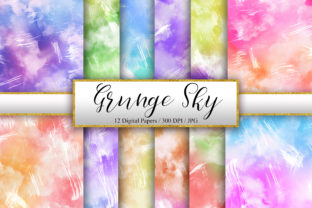 Print on Demand: Grunge Sky Watercolor Background Graphic Backgrounds By PinkPearly