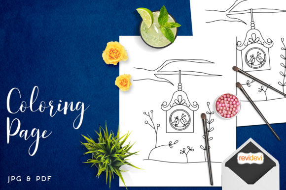 Download Free Hanging Bird House Coloring Graphic By Revidevi Creative Fabrica for Cricut Explore, Silhouette and other cutting machines.