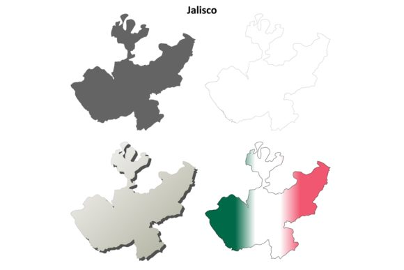 Download Free Jalisco Outline Map Set Graphic By Davidzydd Creative Fabrica for Cricut Explore, Silhouette and other cutting machines.