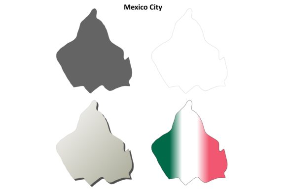 Download Free Mexico City Outline Map Set Graphic By Davidzydd Creative Fabrica for Cricut Explore, Silhouette and other cutting machines.