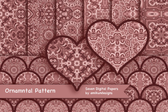 Download Free Ornamental Pattern Collection Graphic By Emikundesigns for Cricut Explore, Silhouette and other cutting machines.