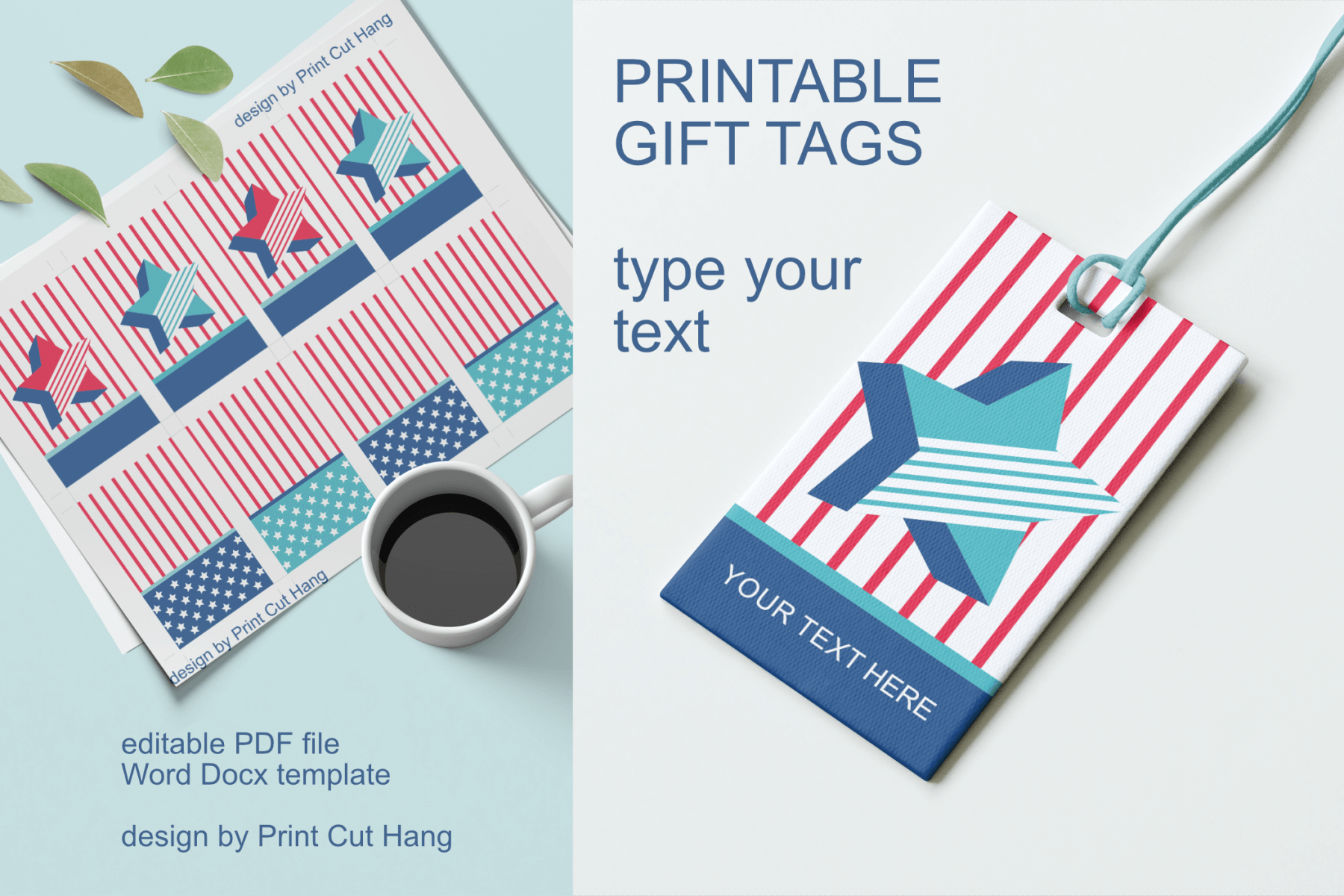 Download Free Printable Gift Tags Stars And Stripes Graphic By Print Cut Hang for Cricut Explore, Silhouette and other cutting machines.