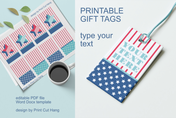 Printable Gift Tags Stars And Stripes Graphic By Print Cut Hang