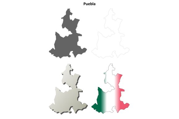 Download Free Puebla Outline Map Set Graphic By Davidzydd Creative Fabrica for Cricut Explore, Silhouette and other cutting machines.