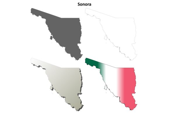 Download Free Sonora Outline Map Set Graphic By Davidzydd Creative Fabrica for Cricut Explore, Silhouette and other cutting machines.