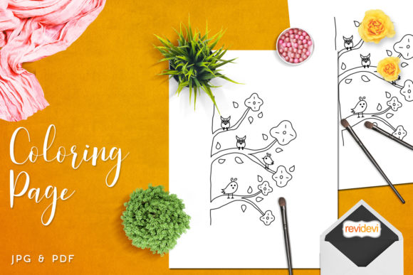 Download Free Three Birds Owls Coloring Graphic By Revidevi Creative Fabrica for Cricut Explore, Silhouette and other cutting machines.