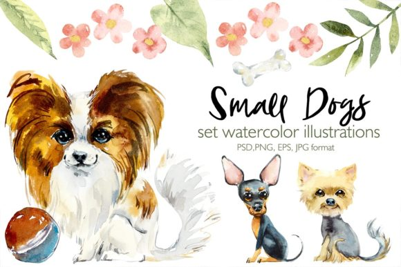 Watercolor Cartoon Small Dogs Graphic Illustrations By Мария Кутузова