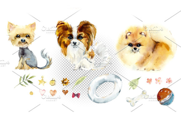 Download Free Watercolor Cartoon Small Dogs Graphic By Mariya Kutuzova for Cricut Explore, Silhouette and other cutting machines.