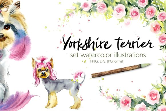 Download Free Watercolor Set Yorkshire Terrier Graphic By Mariya Kutuzova for Cricut Explore, Silhouette and other cutting machines.