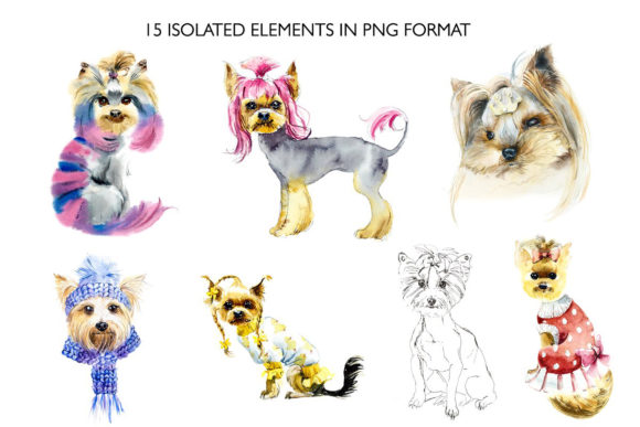 Watercolor Set. Yorkshire Terrier. Graphic Illustrations By Мария Кутузова - Image 2