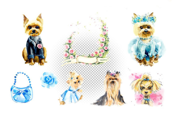 Watercolor Set. Yorkshire Terrier. Graphic Illustrations By Мария Кутузова - Image 3