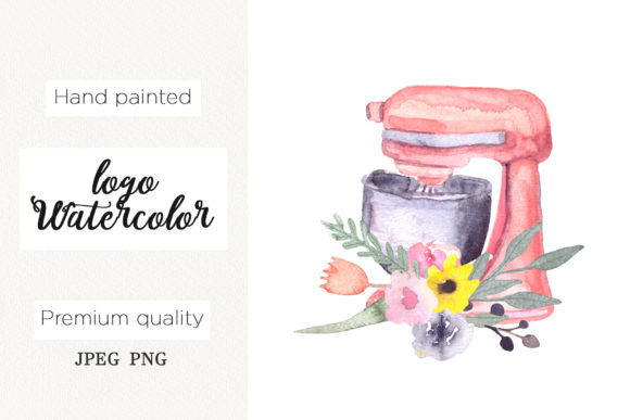 Print on Demand: Watercolor Logo for Bakery, Mixer Floral Graphic Logos By marisid11 - Image 1