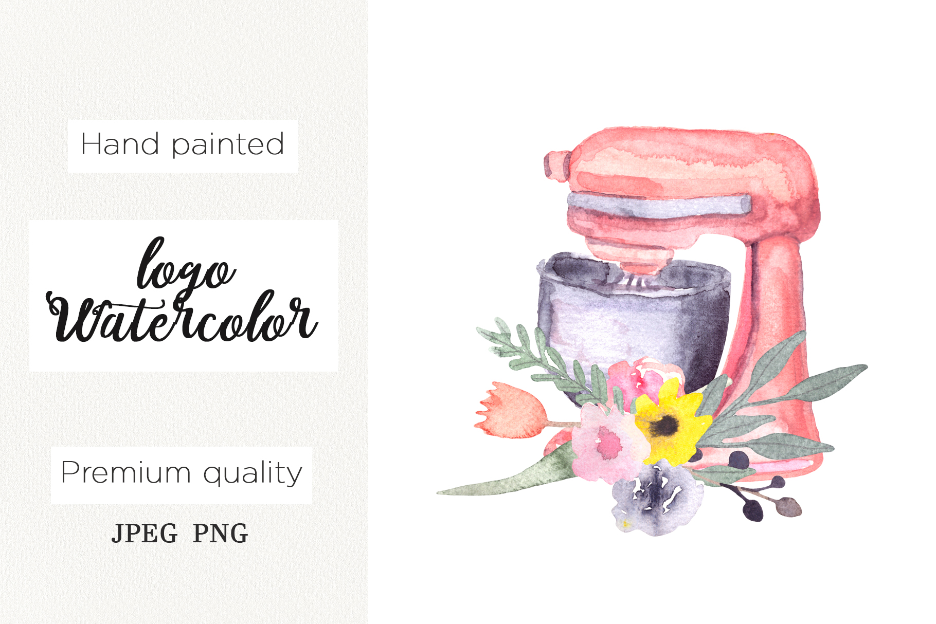 Download Free Watercolor Logo For Bakery Mixer Floral Graphic By Marisid11 for Cricut Explore, Silhouette and other cutting machines.