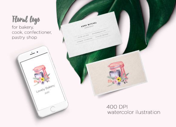 Print on Demand: Watercolor Logo for Bakery, Mixer Floral Graphic Logos By marisid11 - Image 2