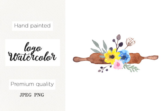 Print on Demand: Watercolor Logo Rolling Pin for Bakery Graphic Logos By marisid11