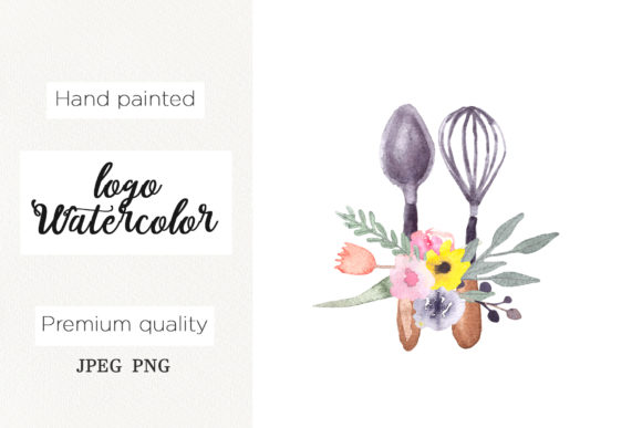 Print on Demand: Watercolor Logo Whisk for Bakery,cooking Graphic Logos By marisid11