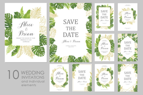 Download Free Floral Wedding Invitations Vector Set Graphic By Nata Art for Cricut Explore, Silhouette and other cutting machines.