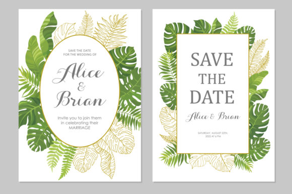 Download Free Wedding Invitations Set 3 Graphic By Nata Art Graphic for Cricut Explore, Silhouette and other cutting machines.
