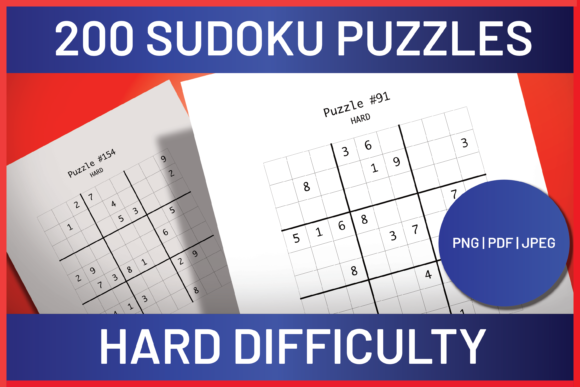 Download Free 200 Hard Difficulty Sudoku Puzzles Graphic By Ascendprints for Cricut Explore, Silhouette and other cutting machines.