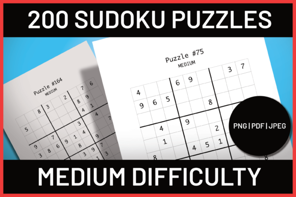 Download Free 200 Medium Sudoku Puzzles Graphic By Ascendprints Creative Fabrica for Cricut Explore, Silhouette and other cutting machines.