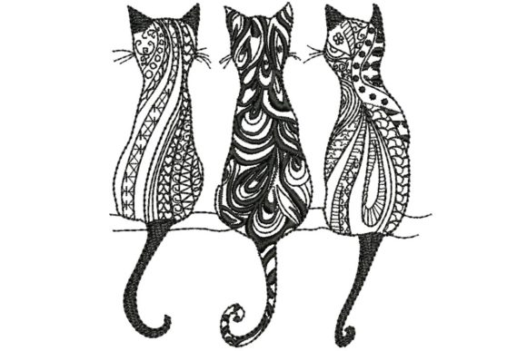 3 Black Cats 2 Embroidery