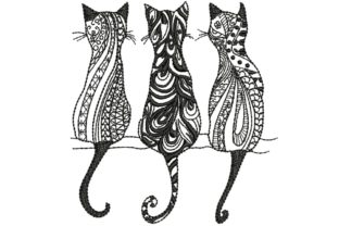 3 Black Cats 2 Cats Embroidery Design By BabyNucci Embroidery Designs