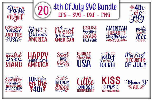 Print on Demand: 4th of July Quotes Designs Bundle Gráfico Plantillas para Impresión Por GraphicsBooth