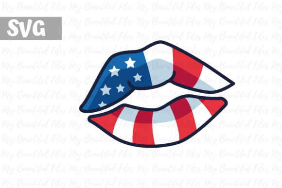 Print on Demand: 4th of July - Kissing Lips USA Graphic Icons By MyBeautifulFiles