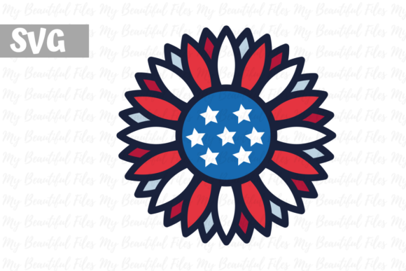 Download Free 4th Of July Sunflower Usa Graphic By Mybeautifulfiles for Cricut Explore, Silhouette and other cutting machines.