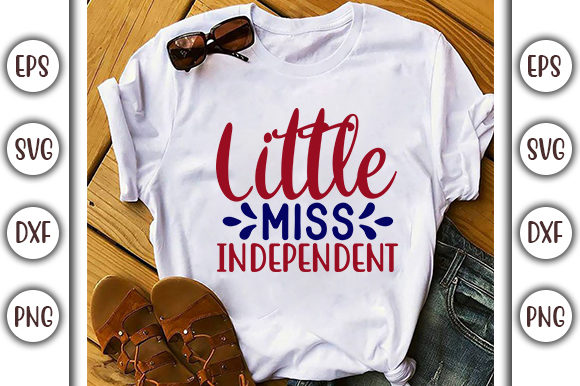 Print on Demand: 4th of July Design,  Little Miss Graphic Print Templates By GraphicsBooth
