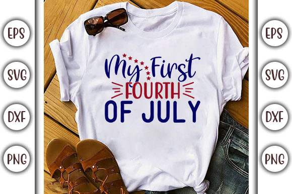 Print on Demand: 4th of July Design, My First Fourth of Graphic Print Templates By GraphicsBooth