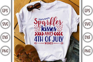 Print on Demand: 4th of July Design,  Sparkler Kisses and Graphic Print Templates By GraphicsBooth