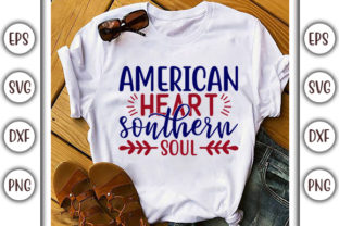 Print on Demand: 4th of July Design,  American Heart Graphic Print Templates By GraphicsBooth