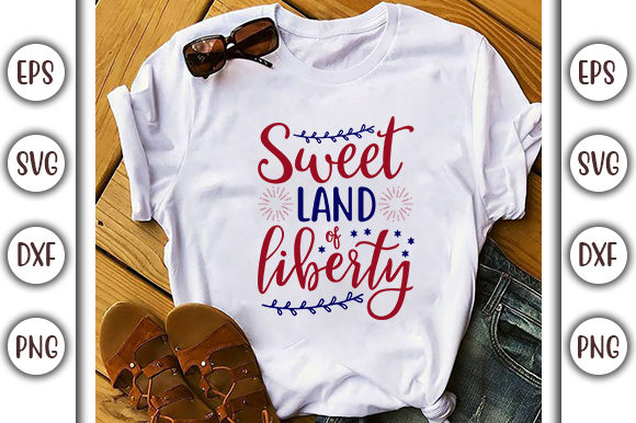 Print on Demand: 4th of July Design,  Sweet Land of Graphic Print Templates By GraphicsBooth
