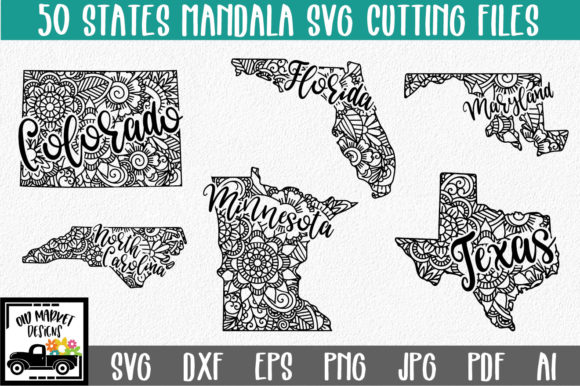 Download Free 50 States Mandala Bundle Graphic By Oldmarketdesigns Creative for Cricut Explore, Silhouette and other cutting machines.