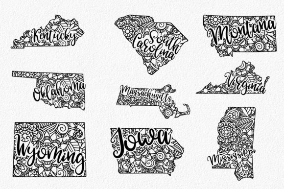 Print on Demand: 50 States Mandala Bundle  Graphic Crafts By oldmarketdesigns - Image 2