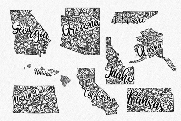 Print on Demand: 50 States Mandala Bundle  Graphic Crafts By oldmarketdesigns - Image 3