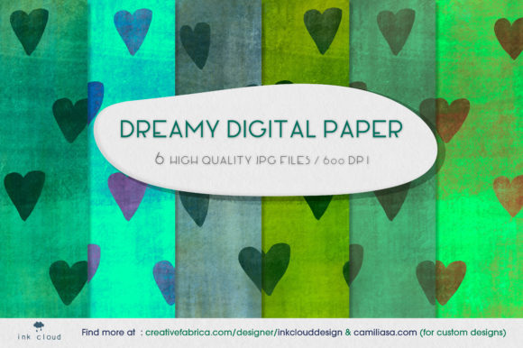 Print on Demand: 6 Cute Drealy Digital Paper Background Graphic Backgrounds By Inkclouddesign