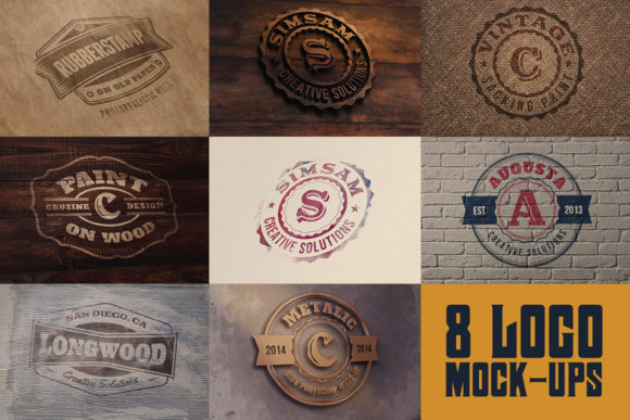 Print on Demand: 8 Realistic Logo or Text Mock-ups Graphic Product Mockups By JumboDesign