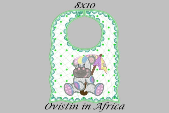 Adorable Green Baby Hippo Bib Sewing & Crafts Embroidery Design By Ovistin in Africa - Image 1