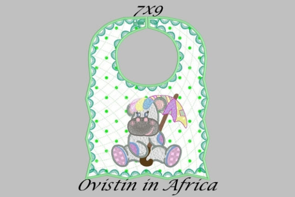 Adorable Green Baby Hippo Bib Small Nursery Embroidery Design By Ovistin in Africa - Image 1