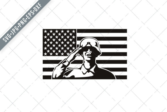 Download Free African American Soldier Saluting Usa Graphic By Patrimonio for Cricut Explore, Silhouette and other cutting machines.