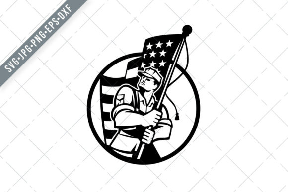 Download Free American Patriot Soldier Holding Flag Graphic By Patrimonio for Cricut Explore, Silhouette and other cutting machines.