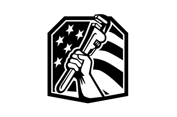 Download Free American Plumber Hand Holding Wrench Graphic By Patrimonio for Cricut Explore, Silhouette and other cutting machines.