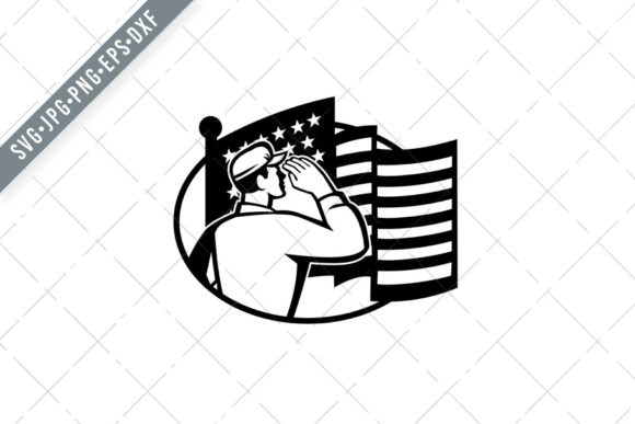 Download Free American Soldier Salute Usa Flag Graphic By Patrimonio for Cricut Explore, Silhouette and other cutting machines.