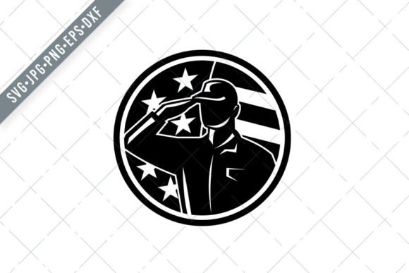 Download Free American Soldier Serviceman Saluting Usa Graphic By Patrimonio for Cricut Explore, Silhouette and other cutting machines.